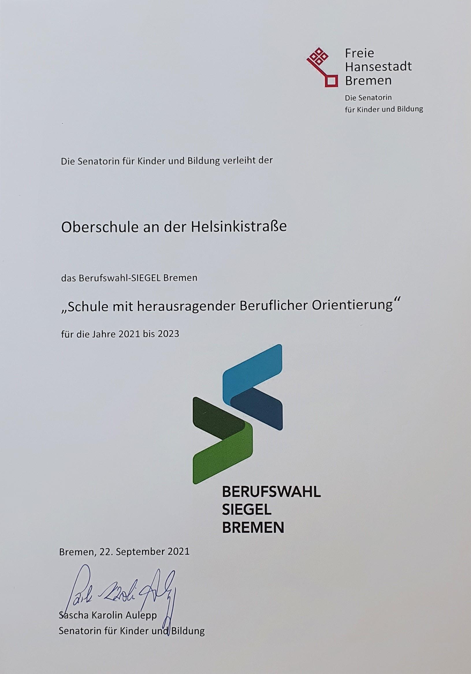 Urkunde Berufswahl-Siegel